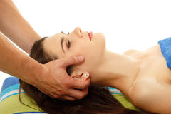 Massage teen girl attractive isolated on white Stock Image