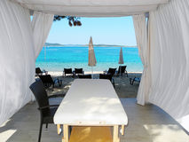 The massage tent on the beach. Stock Images