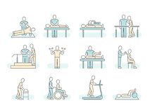 Massage therapy spa physiotherapy vector line medical icons. Therapeutic symbols. And recuperation, physiotherapist rehabilitation illustration Stock Image