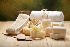 Massage tools, soap, bath salt and towels Royalty Free Stock Images