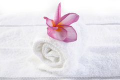 Massage towel with plumeria Royalty Free Stock Photo