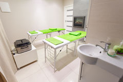Massage treatment room in beauty healthy spa salon. Interior of massage treatment room in beauty healthy spa salon. Luxury relax therapy Stock Images