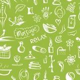 Massage und Badekurortkonzept, nahtloses Muster für Ihr Lizenzfreies Stockbild