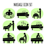 Massage vector black icons set Royalty Free Stock Photography