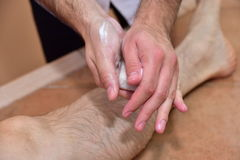 Massage with volcanic stones and hands Royalty Free Stock Image