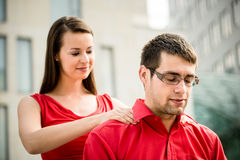 Massage will help after working day royalty free stock images