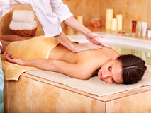 Massage of woman in beauty spa. royalty free stock photography