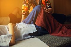 Massage with woman in old Thai traditional. In close up stock photo