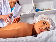 Massage woman therapist making manual therapy back. Royalty Free Stock Photos