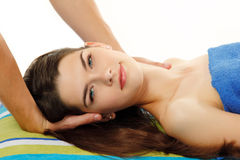 Massage woman young beautiful cheerful Royalty Free Stock Photography