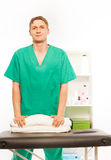 Massage worker at the rehabilitation cabinet Royalty Free Stock Photography