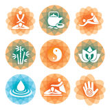 Massage yoga spa icons. Set of massage, yoga and spa icons on the colorful abstract background   Vector illustration Stock Photos
