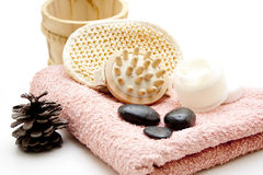 Massageborste med stenar Arkivbild