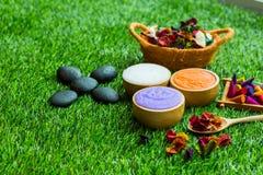 Massageeinzelteileinstellung auf grünes Gras Hintergrund stockbilder