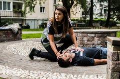Massagem cardíaca fotografia de stock