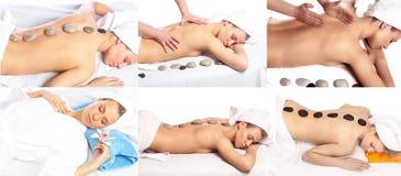 Massagem quente das pedras Fotografia de Stock Royalty Free
