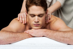 Massagen ger mig mer avkoppling Fotografering för Bildbyråer