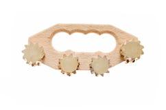 Massager de madeira do anticellulite para a pele fêmea Fotografia de Stock