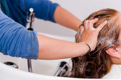 Massages inside a hairdressing saloon, hands washing with a nice shampoo a long hair Stock Image