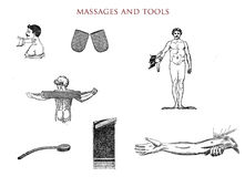 Massages and tools, vintage illustration Royalty Free Stock Photography