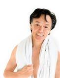 Massagesauna-Badekurortabnehmer im weißen Tuch Lizenzfreie Stockfotos