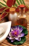 Massageschmieröl und -milch Stockfotos
