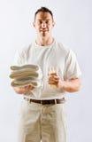 Massagetherapeutholdingschmieröl und -tücher Lizenzfreies Stockbild