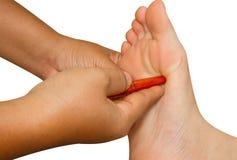 Massaggio del piede di reflessologia fotografia stock