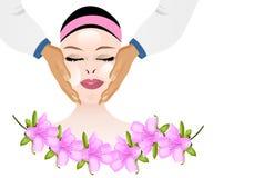 Massaggio facciale cosmetico, vettore dei cdr Fotografia Stock Libera da Diritti