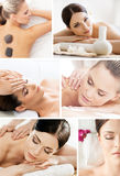 Massaging collage. Beautiful women having different types of massage Stock Photo
