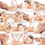 Massaging collage. Spa, rejuvenation, skin care. Healing and medicine concept Stock Image