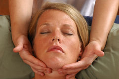 Massaging Face Skincare Stock Images