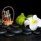 Massaging stone, fresh, spa, oil, posh, skincare, vial, nobody, Royalty Free Stock Photos