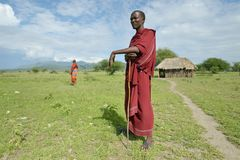 Arusha, Tanzania, February 07, 2016: Massai man standing in front of the house stock images