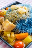 Massaman curry with Butterfly pea cooked rice Stock Image