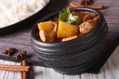 Massaman curry med den fega closeupen och ris på tabellen Horiz Arkivfoto