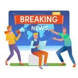 Massamedia Online brekend nieuwsconcept De jonge mannen en de vrouwen bevinden zich dichtbij grote laptop Vlakke vectorillustrati Royalty-vrije Stock Foto's