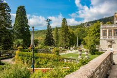 Massandra, Crimea - October 2014: Massandra Palace and Park Complex stock photography