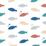 Masse der Fische Mehrfarbiges nahtloses Vektormuster Stockfotos