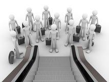 Masse der Touristen vor Rolltreppe Lizenzfreie Stockfotos