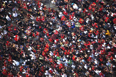 Masse feiert Parade an der Chicago-Blackhawks Lizenzfreie Stockfotografie