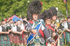 Massed pipe band at Forres Royalty Free Stock Photos