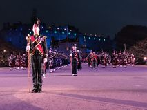 Royal Edinburgh Military Tattoo. Massed Pipes and Drums Festival, with the bagpipe at the center. An annual series of military tattoos performed by British Armed stock images