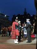 Royal Edinburgh Military Tattoo. Massed Pipes and Drums Festival, with the bagpipe at the center. An annual series of military tattoos performed by British Armed royalty free stock images