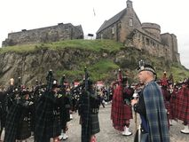Royal Edinburgh Military Tattoo. Massed Pipes and Drums Festival, with the bagpipe at the center. An annual series of military tattoos performed by British Armed royalty free stock photography