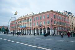 Massena广场概要在尼斯,法国海滨 图库摄影