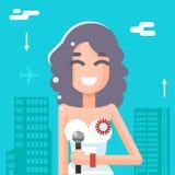 Massenmedium-Symbol Journalist-Female Girl Icons auf stilvoller Hintergrund-flacher Design-Schablonen-Vektor-Illustration Stockfoto