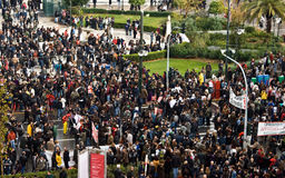 Massenprotest, Panepistimiou str, Athen, Griechenland Lizenzfreies Stockbild