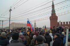 Massenversammlung in Moskau am 1. März 2015 Stockfotografie