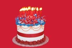 Masses of Candles. (25) on a celebration cake.  Suitable for birthday, anniversary, or any other celebration.  Vibrant primary colors Royalty Free Stock Photo